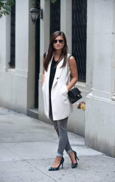 Wearing long lined sleeveless vest